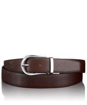 Beiseitig tragbarer Saffiano Gürtel mit hufeisenförmiger Schnalle Belts